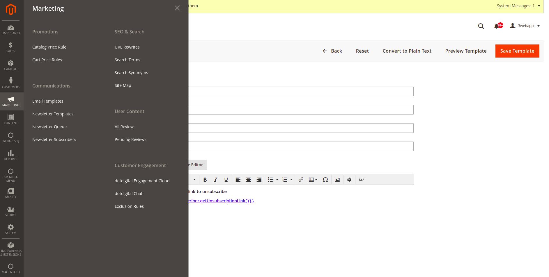 Aanmaken email template in Magento 2