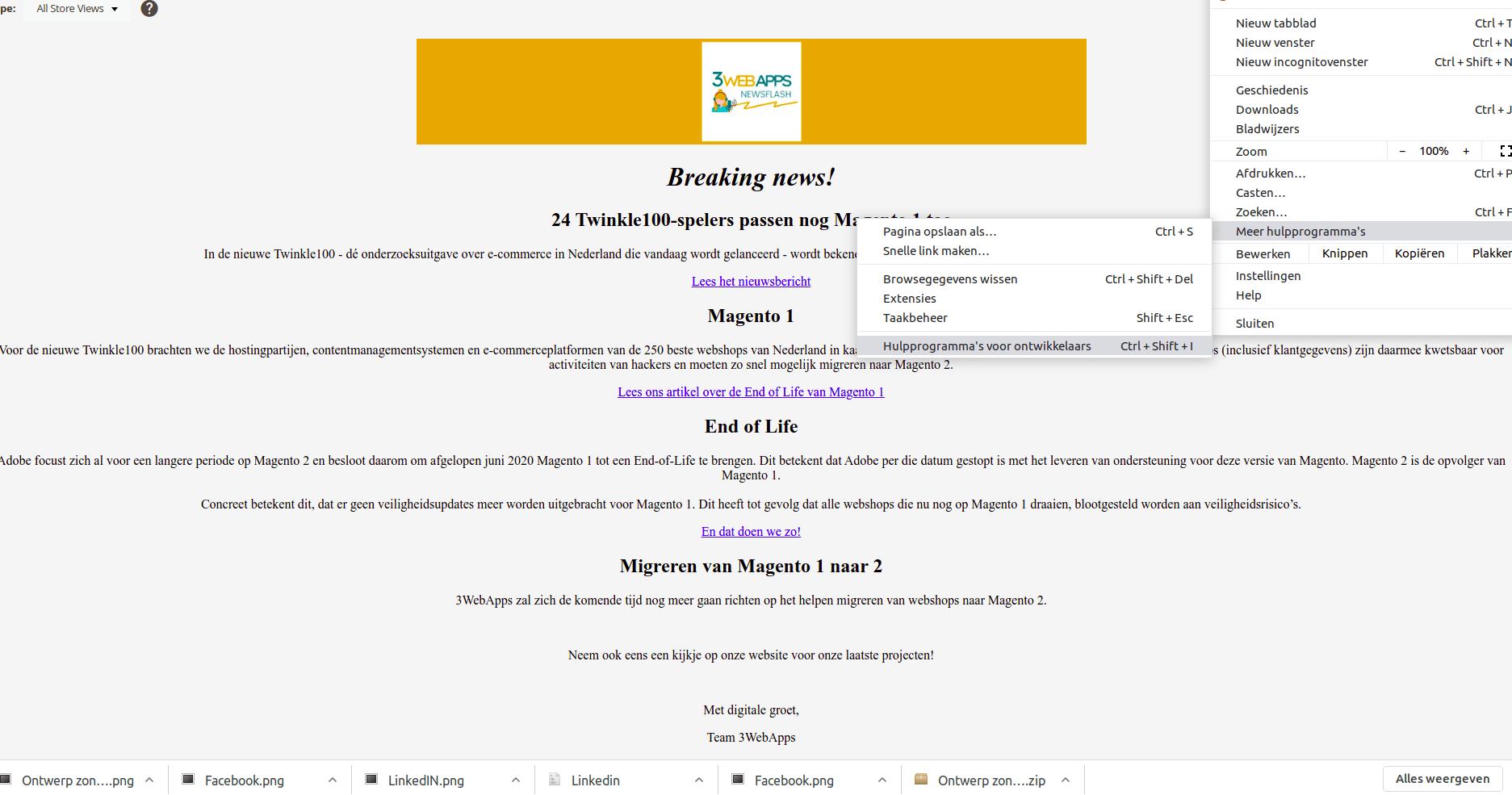 Magento 2 nieuwsbrief als mobiele en tabletversie zien