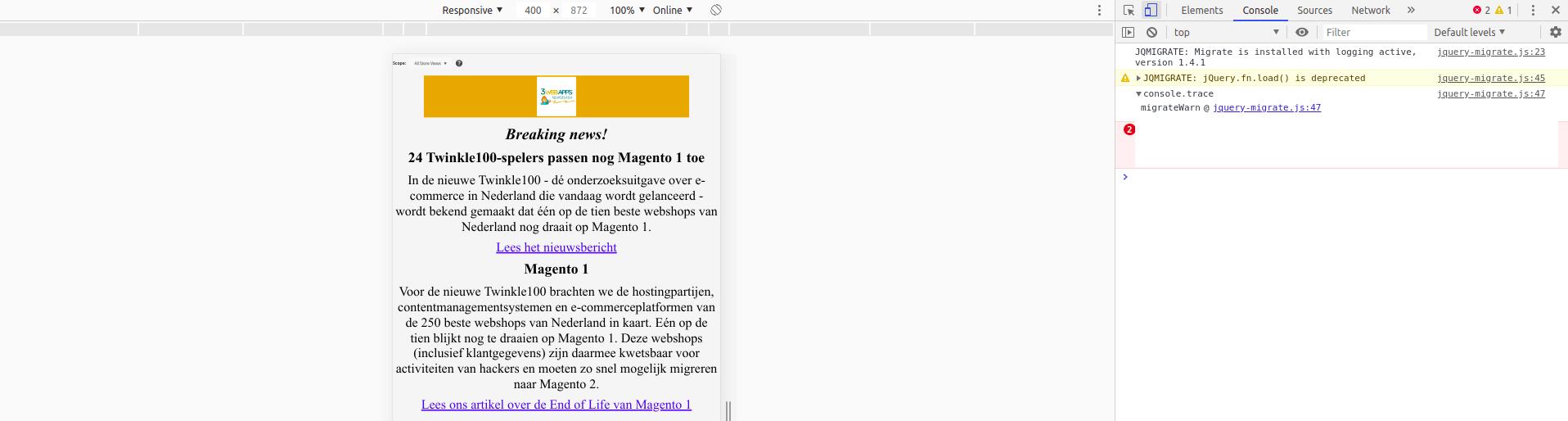 Magento 2 nieuwsbrief mobiele versie