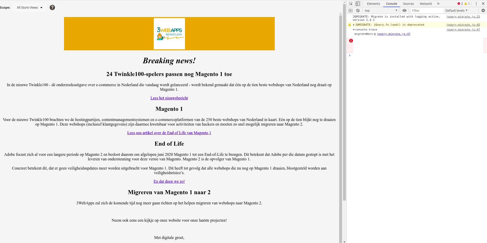 Magento 2 nieuwsbrief tabletversie