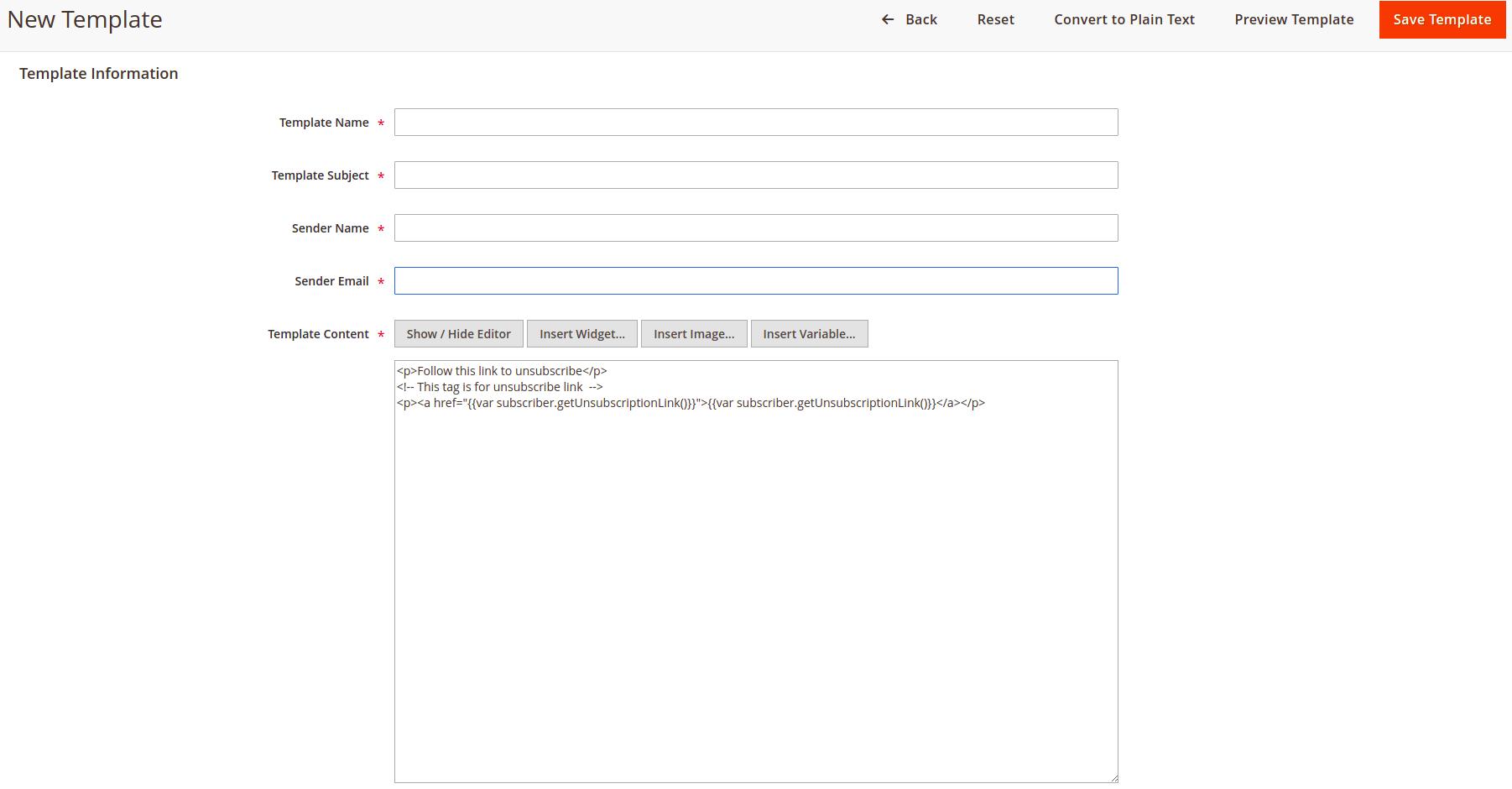 Nieuw email template maken in Magento 2